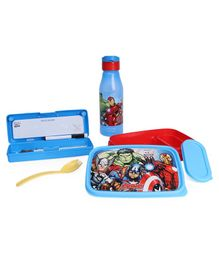 Marvel Avengers Lock And Seal Combo Of Lunch Box Water Bottle And Pencil Box - Pink