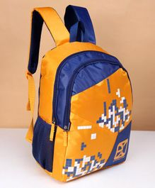 Excelites Tetris Print School Bag Yellow Blue - 18 Inches