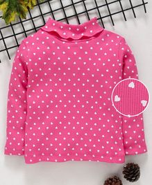 Babyhug Full Sleeves Cotton Lycra Tee Heart Print - Pink