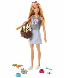 Barbie Doll with Pets Grey - Height 28 cm
