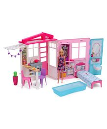 Barbie Doll With Doll House & Accessories - Pink Blue