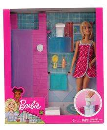 Barbie Doll With Shower Set Themed Accessories Multicolour - Doll height 28 cm