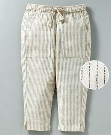 Snowflakes Full Length Striped Pants - Cream