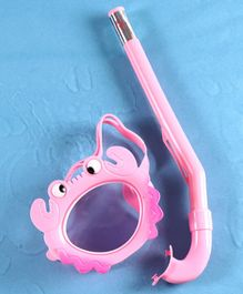 Yellowbee Crab Design Mask & Snorkel Set  - Pink