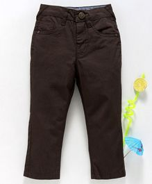 Babyhug Full Length Adjustable Elastic Waist Solid Dyed Cotton Trouser - Brown