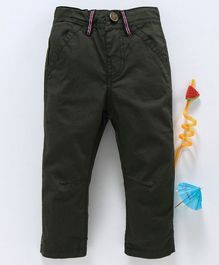 Babyhug Full Length Adjustable Elastic Waist Solid Dyed Cotton Trouser - Olive Green