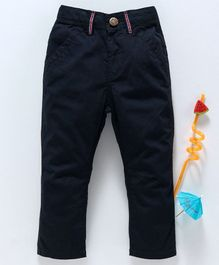 Babyhug Full Length Adjustable Elastic Waist Solid Dyed Cotton Trouser - Navy Blue