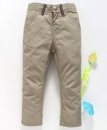 Babyhug Full Length Adjustable Elastic Waist Solid Dyed Cotton Trouser - Light Brown