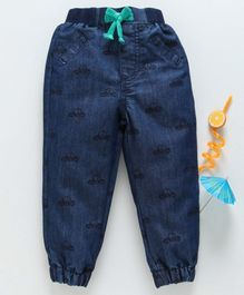 Babyhug Washed Elastic Waist Denim Jogger Jeans Car Print - Dark Blue