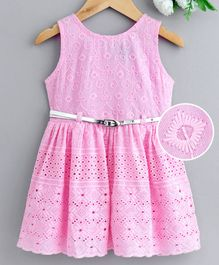 Enfance Embroidered Sleeveless Dress With Belt - Pink