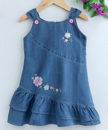 Enfance Core Flower Embroidered Sleeveless Dress - Blue