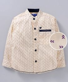 612 League Printed Full Sleeves Shirt - Beige