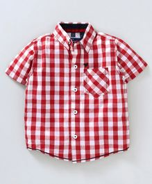 612 League Checks Half Sleeves Shirt - Red