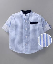 612 League Striped Half Sleeves Shirt - Blue & White