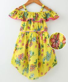 612 League Flower Printed Half Sleeves Dress With Belt - Yellow