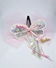 Barbie By Many Frocks & Sequinned Detailed Bow Hair Clip - Pink