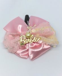 Barbie By Many Frocks & Ribbon Detailed Sequinned Bow Hair Clip - Pink