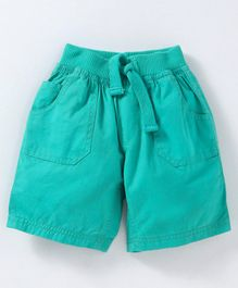Cucumber Elastic Waist Solid Shorts - Green