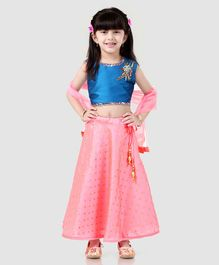 97cdb45a2e9f9b Saka Designs Lehenga Choli With Dupatta Bead Detailing - Blue Pink