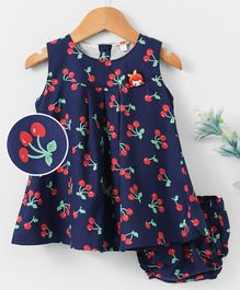 Dew Drops Sleeveless Frocks With Bloomer Cherry Print - Navy Blue
