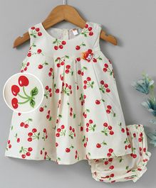 Dew Drops Sleeveless Frocks With Bloomer Cherry Print - Off White
