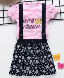 Mom's Love Short Sleeves Top With Skirt & Suspenders Little Princess Print - Light Pink