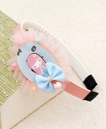 Kidlingss Girl With Bear Print Frill Hair Band - Blue