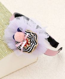 Kidlingss Teddy Striped With Bow Detail Frill Hair Band - Purple