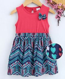 Babyhug Sleeveless Geometric Print Frock With Bow Applique - Multicolour