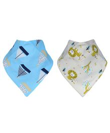 Kassy Pop Bandana Bibs Animal Print Pack of 2 - Blue