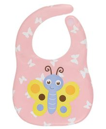 Kassy Pop Water Proof Bib Butterfly Print - Peach