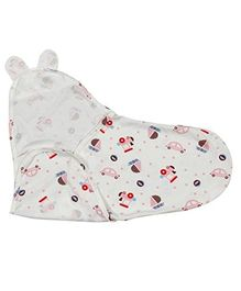Kassy Pop Adjustable Swaddle Wrap Car Print - White