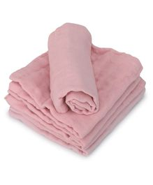 Kassy Pop 6 Layer Muslin Reusable Baby Face Towels Pink - Pack of 5