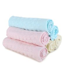 Kassy Pop Reusable Baby Face Towels Blue Yellow Pink - Pack of 6