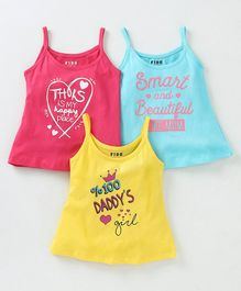 Fido Singlet Slips Multiprint Pack of 3 - Fuchsia Yellow Blue