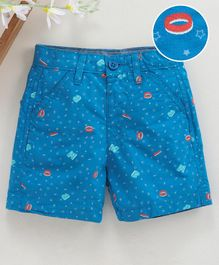 Babyhug Mid Thigh Length Printed Shorts - Blue