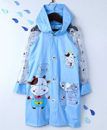 Raincoat With Hood Cow Print - Blue