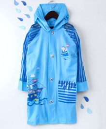 Full Sleeves Hooded Raincoat Ship Print - Blue