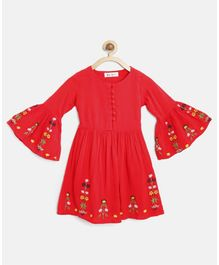 Bella Moda Full Bell Sleeves Flower Embroidered Dress - Red