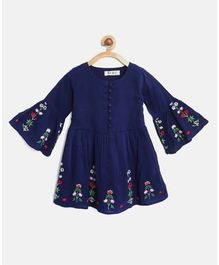 Bella Moda Full Bell Sleeves Flower Embroidered Dress - Blue