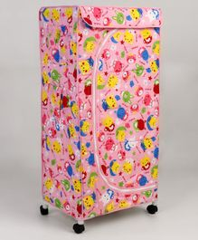 New Natraj Toy Storage Unit With Wheels Teddy Print - Pink