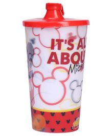 Mickey Mouse 3D Big Plastic Cup With Lid - Red
