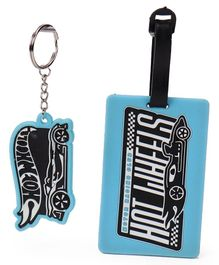 Hot Wheels Luggage Tag And Key Chain - Blue Black