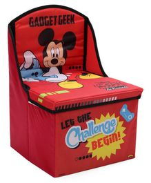 Disney Mickey Mouse Kids Chair Cum Storage Box - Red