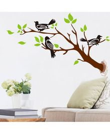 Syga Birds On Branches Wall Sticker - Green Brown