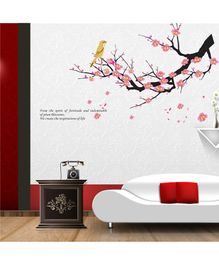 Syga Pink Plum Blossom flowers Tree & Bird Wall Sticker - Pink