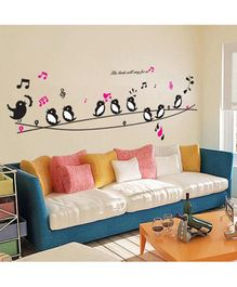 Syga Singing Birds PVC Vinyl Wall Sticker - Black