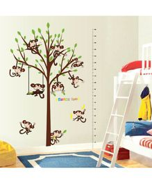Syga Monkey Tree Height Wall Sticker - Brown
