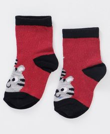 Cute Walk By Babyhug Anti Bacterial Ankle Length Sock Animal Face Design - Red