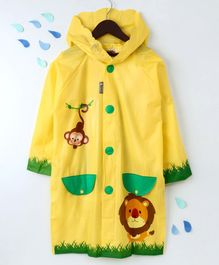 Full Sleeves Hooded Raincoat Animal Print - Yellow